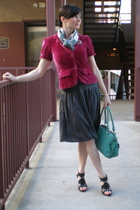 Old Navy blazer - Geren Ford dress - crystal j scarf - marc purse - Bakers shoes