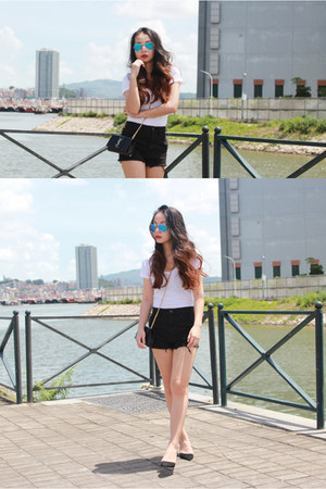 black Saint Laurent bag - black BDG shorts - sky blue Ray Ban sunglasses