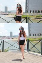 black Saint Laurent bag - black BDG shorts - sky blue Ray Ban sunglasses