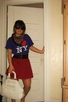 new york streets shirt - forever 21 skirt - thrifted scarf - t-j max purse