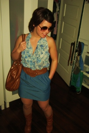 blue ruffles Forever 21 shirt - brown Steve Madden boots - brown Nine West bag