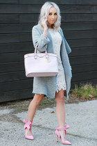 heather gray coat Sheinside coat - light pink pumps Sheinside heels