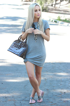 heather gray merona dress - deep purple shiny Louis Vuitton bag