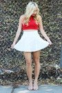 Red-crop-top-forever-21-top-white-high-waisted-forever-21-skirt