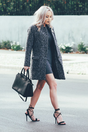 gray coat Sheinside coat - charcoal gray bodycon Sheinside dress