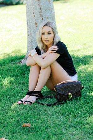 black crop top Urban Outfitters t-shirt - dark brown crossbody Louis Vuitton bag