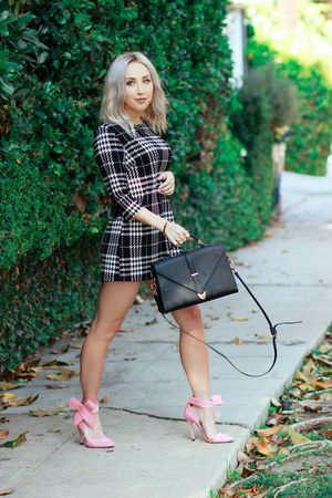 black plaid Forever 21 dress - pink ankle strap shein heels