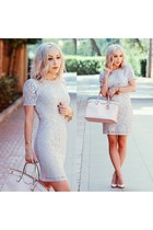 light blue lace Forever 21 dress - light pink pointed Christian Louboutin pumps