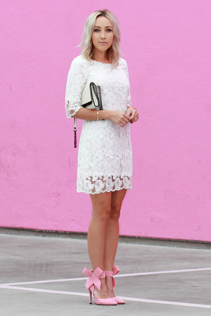 white lace T Mart dress - bubble gum bow Sheinside heels