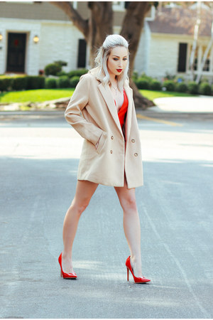 red deep v Sheinside dress - tan trench coat Sheinside coat