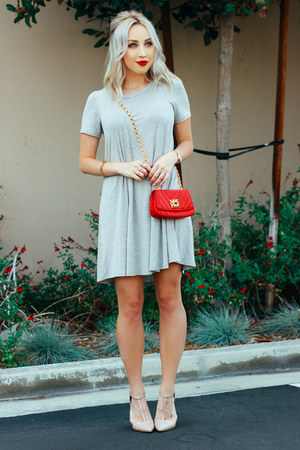red vintage bag Chanel bag - silver t-shirt dress Angl dress