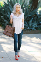 navy skinny jeans Angl jeans - dark brown leather Diophy bag