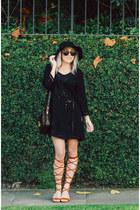 black lbd TJ Maxx dress - bronze lace up Make Me Chic heels