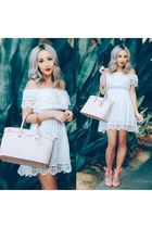 white lace Sheinside dress - pink suede Sheinside heels