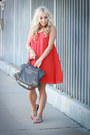 Carrot-orange-flowy-armani-exchange-dress-charcoal-gray-gray-balenciaga-bag