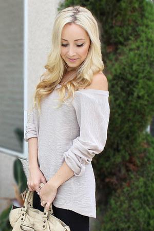 beige sweater - black American Apparel leggings - beige balenciaga bag