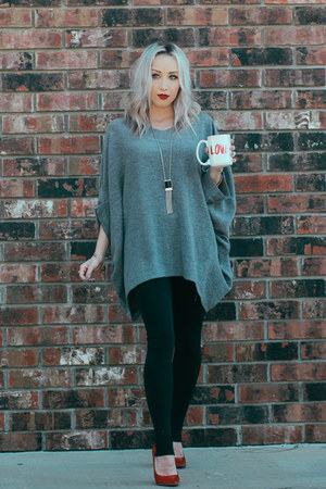 charcoal gray oversized Sheinside cape