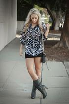 black cross-body Rebecca Minkoff bag - charcoal gray heels Forever 21 boots
