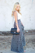 navy high waisted Angl skirt - black purse Chanel bag