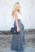 navy high waisted Angl skirt - black purse Chanel bag