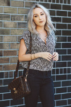 dark brown crossbody Louis Vuitton bag - gray loose Nordstrom blouse