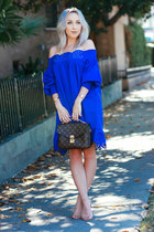 blue flowy shein dress