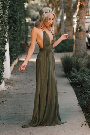 olive green boho Forever 21 dress