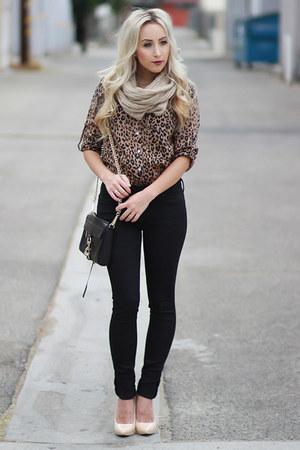 black black Angl jeans - dark brown leopard print Forever 21 blouse