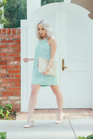 aquamarine lace Maggy London dress