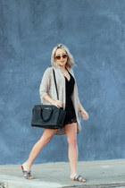 black leather Michael Kors bag - beige long cardigan Nordstrom cardigan