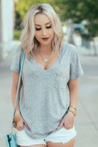 silver v-neck madewell t-shirt