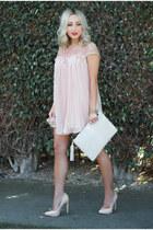 light pink babydoll Sheinside dress - beige clutch GiGi New York bag