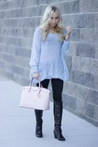 light blue pastel Chicwish sweater - light pink pastel Henri Bendel bag