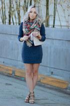 navy sweater dress Sheinside dress