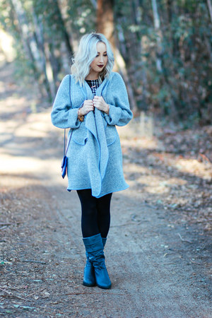 heather gray long coat Sheinside coat
