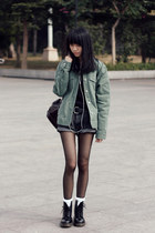 jacket - boots - H&M sweater - Dr Martens bag - H&M belt