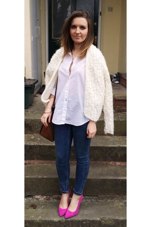 white H&M shirt - navy Topshop jeans - ivory H&M cardigan