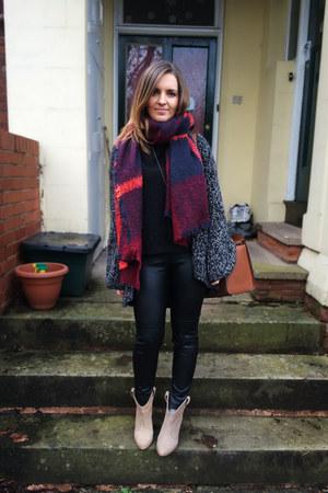navy Zara scarf - nude Zara boots - black Topshop cardigan - black H&M pants