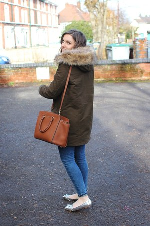 army green Zara coat - navy Topshop jeans - brown Michael Kors bag