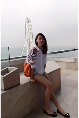 Zara blouse - kate spade bag - Topshop shorts - Salvatore Ferragamo flats