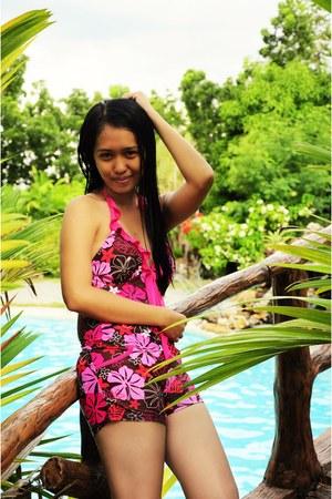 pink floral swimwear