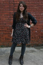 Forever 21 dress - threadsence boots - Gap tights - delias cardigan