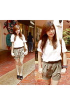 white Zara blazer - brown Zara shorts - black Zara shoes