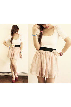 pink Zara blouse - pink Pink Manila skirt - red Melissa shoes