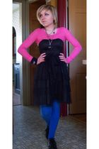 pink shirt - black H & M dress - blue H & M leggings - black macbeth shoes - sil