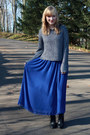 blue maxi American Apparel skirt - silver sparkly H&M sweater
