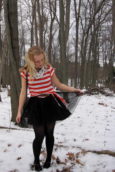 black olsenboye dress - red Forever21 shirt - navy American Eagle cardigan - whi
