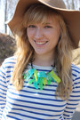 Chartreuse-diy-accessories-camel-h-m-hat-navy-striped-stylemint-shirt