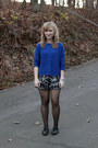 Blue-zara-sweater-black-simply-vera-wang-tights-magenta-elle-shorts