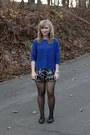 Blue-zara-sweater-black-simply-vera-wang-tights-magenta-elle-shorts